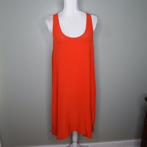 everlane women silk dress orange sz L